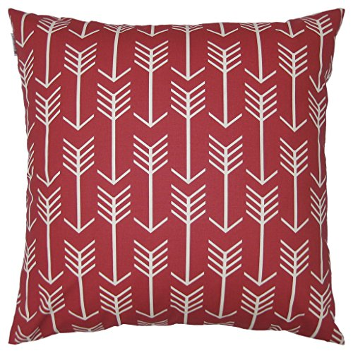 Price comparison product image JinStyles Arrow Cotton Canvas Decorative Throw Pillow Cover (Christmas Red and White,  24 x 24 inches)