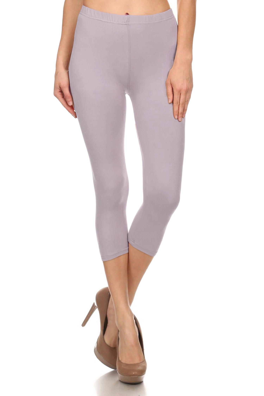 Leggings Mania Women's Solid Colored Capri Leggings Plus Size Lilac