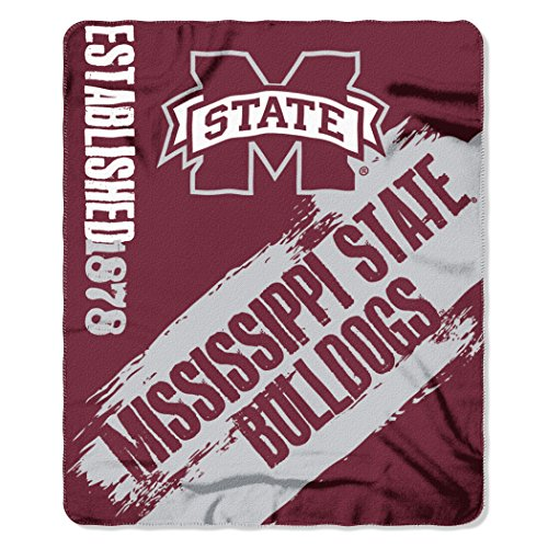 Officially Licensed NCAA Mississippi State Bulldogs Painted Printed Fleece Throw Blanket, 50