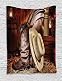Western Decor Tapestry By Ambesonne, Authentic American West Rodeo Elements With Antique Ranching Supplies Retro Art Photo, Bedroom Living Room Dorm Decor, 40 W x 60 L Inches, Brown Beige