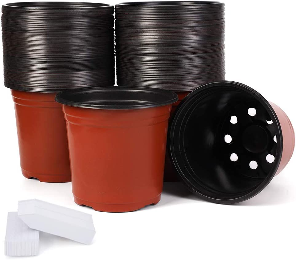 JERIA 100-Pack 6 Inch Plastic Plant Nursery Pots Come with 100 Pcs Plant Labels, Seedling Flower Plant Container and Seed Starting Pots