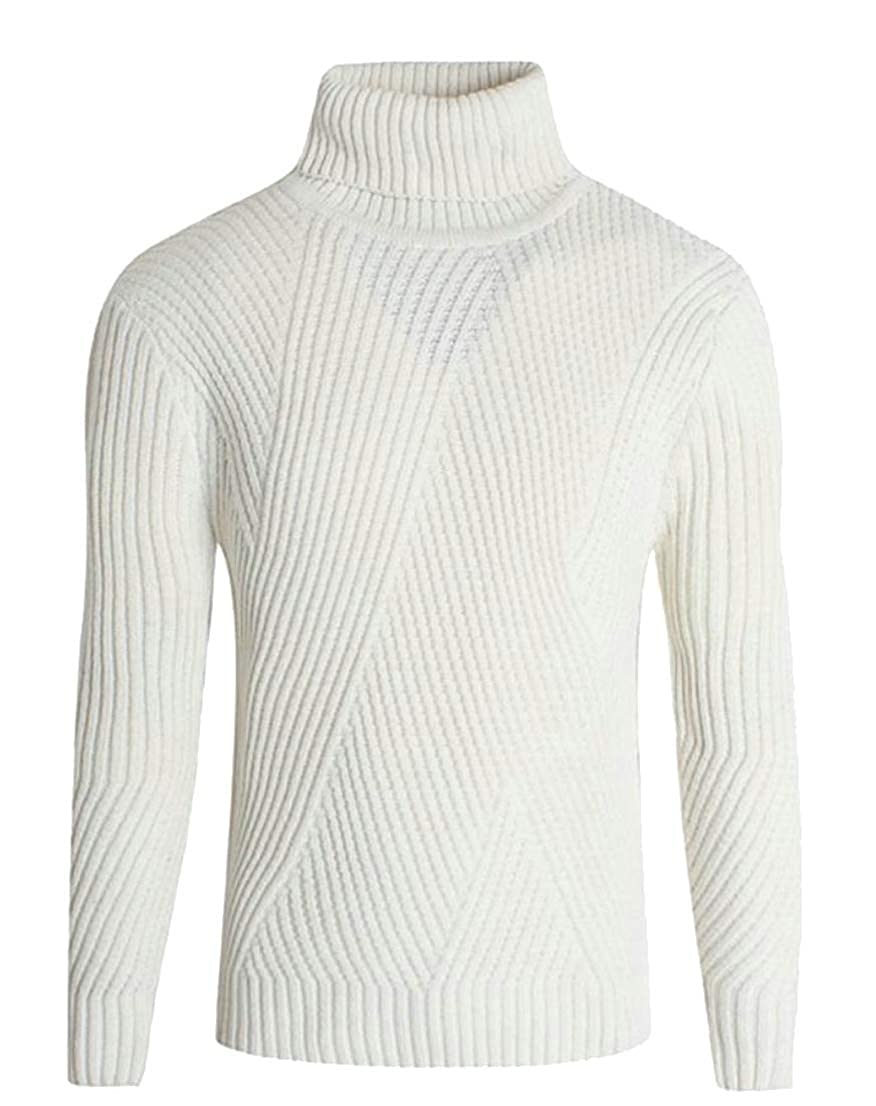 Lutratocro Men Long Sleeve Pure Color Slim Fit High Rise Knit Pullover Autumn Winter Sweater
