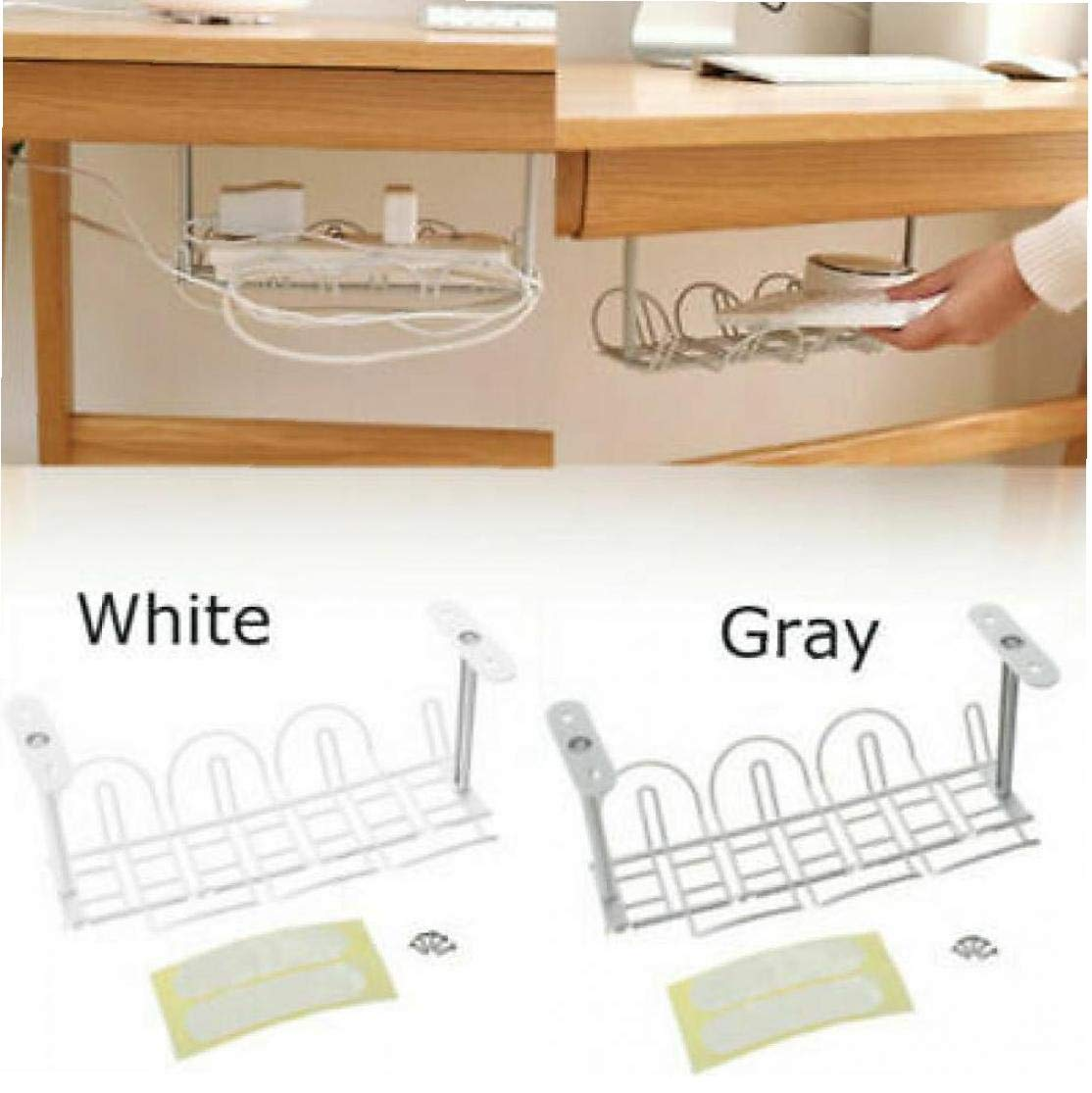 Aisoway Cable Management Tray Under Desk Cable Organizer for Wire  Management Metal Wire Cable Tray for Desks Offices and Kitchens (random  Colors)