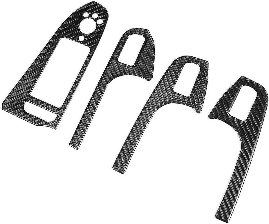 KSTE Fibra de Carbono Ventana de la Puerta de elevaci/ón Panel del cap/ítulo bot/ón Recortar Pegatina for Audi A4 B8 A5 Q5