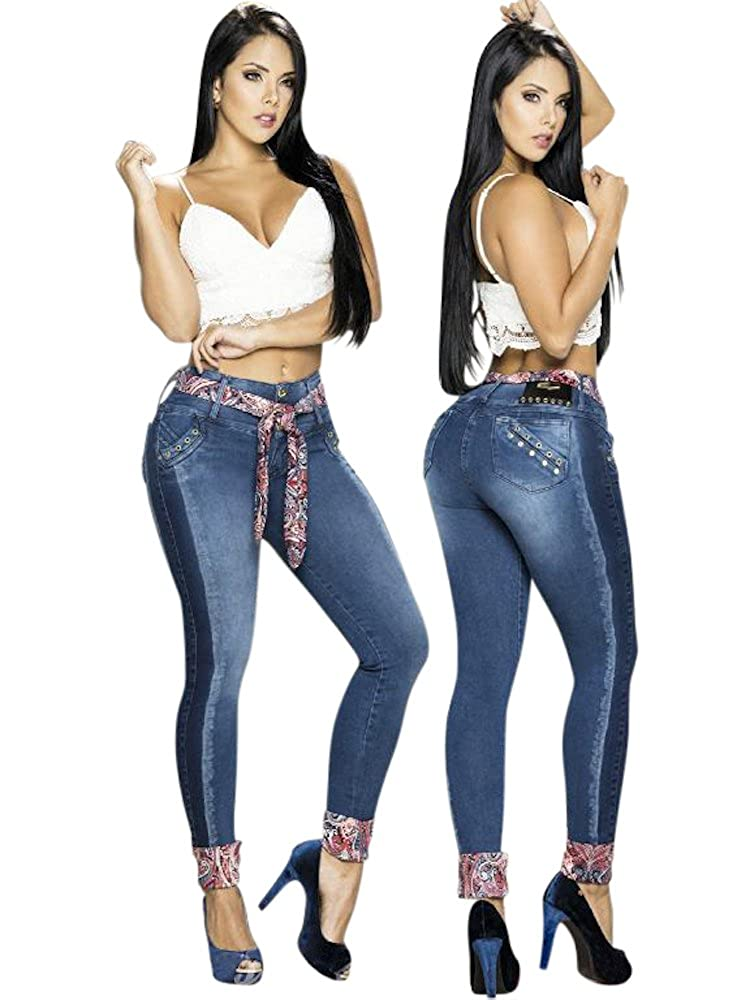dfbed8804 Sexy Dark Blue Denim Colombian Butt Lifting Jeans w Paisley Pattern Ankles  and Belt at Amazon Women s Jeans store