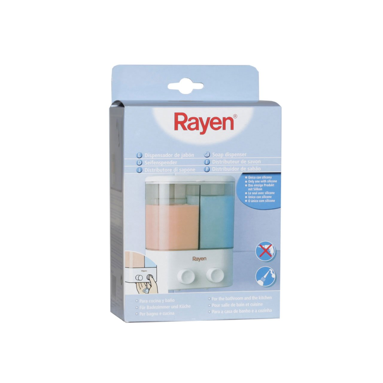 Rayen 2020 - Dispensador de jabón, 2 compartimentos individuales, color blanco: Amazon.es: Hogar