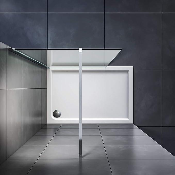 verre fix/é de 8 mm avec barre de fixation conception en chrom/é ouverte SIRONA Paroi de douche 70 x 190 cm sans cadre /à panneau simple