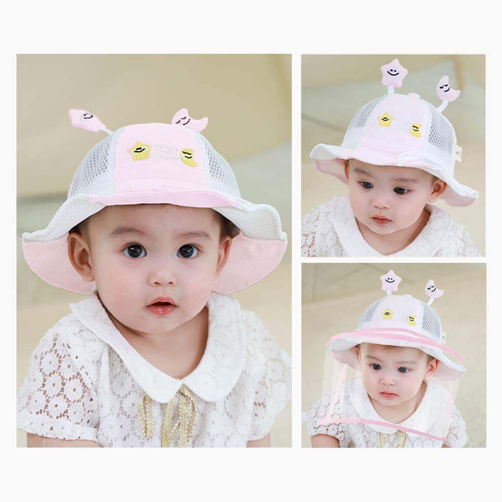 Baby Sun Hat Boys Girls Toddler Cute Bucket Wide Brim Sun Protection Hat UPF 50 Face Protective Hat Anti Spitting Anti-Dust Hat Caps