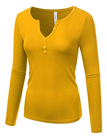 03da8e6a39a TWINTH Womens V Neck Henley Shirts Long Sleeve Ribbed Button Down Basic Tops  Tees Darkmustard Small
