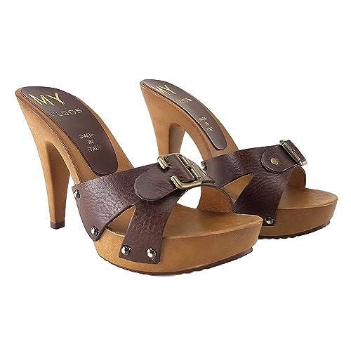 Shoes Cuoio Tacco Kiara 12cm Consegna Zoccoli In My3230 f6gb7y