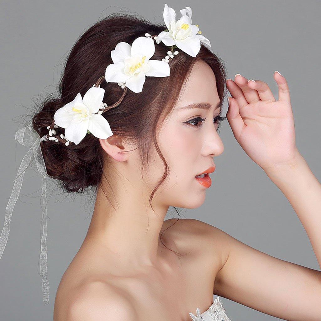 Wreath Flower, Headband Flower Garland Handmade Wedding Bride Party Ribbon Headband Wristband Hairband White (Color : White)