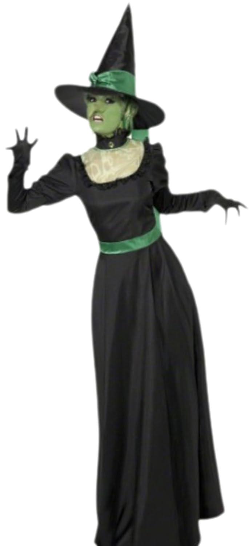 Halloweenia - Damen Waldhexe Zauberin Kostüm mit Hut, L, Schwarz