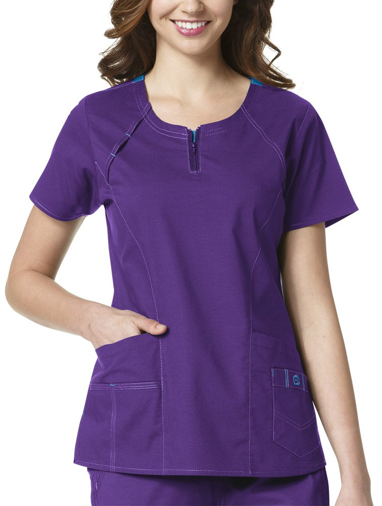 WonderWink Women's Plus Size Wonderflex Heaven Scrub Top, Electric Violet, 2X-Large