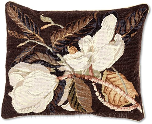 Handmade 100% Wool Needlepoint Floral Southern Magnolia Flower Throw Pillow. 16
