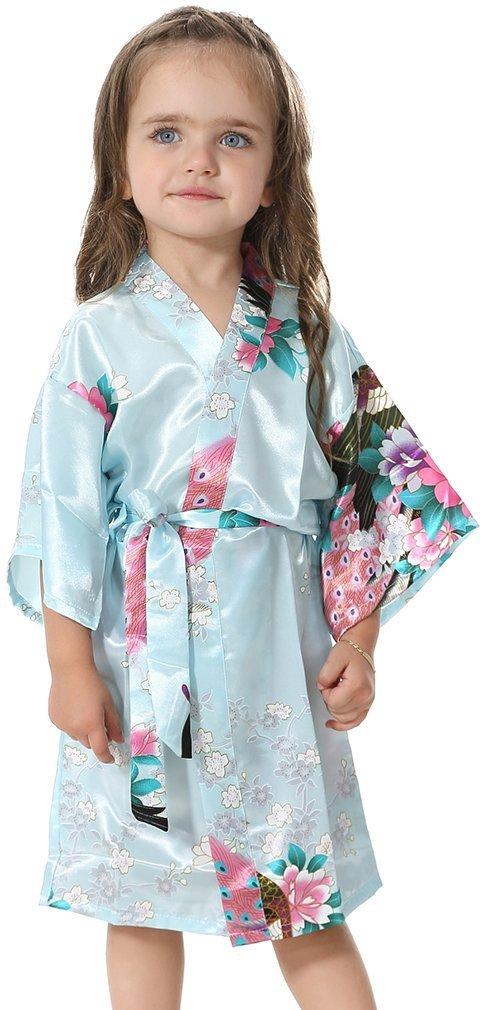 FLYCHEN Girl's Satin Kimono Bathrobes Sleepwear for Kids Wedding Dress Gown