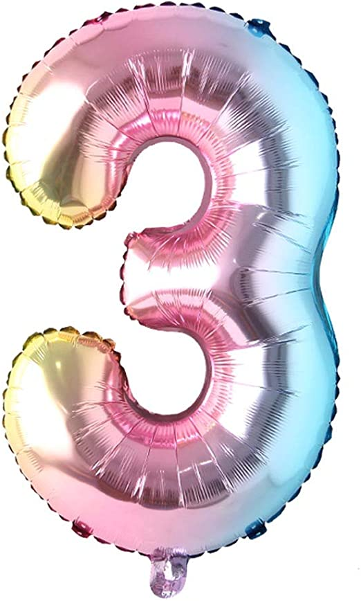 32 Inch Number Balloons Foil Ballon Rainbow Gradient Digit Ball Colorful Wedding Birthday Party Decoration Baby Shower Supplies 32 Inch Rainbow 3 Health Personal Care Amazon Com