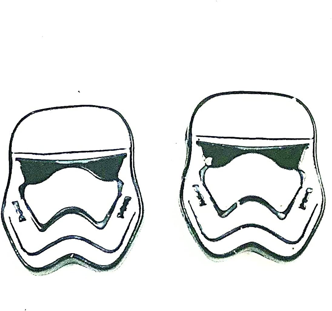 Star Wars Inspired Storm Trooper Character Metal Enamel Stud Pierced Earrings
