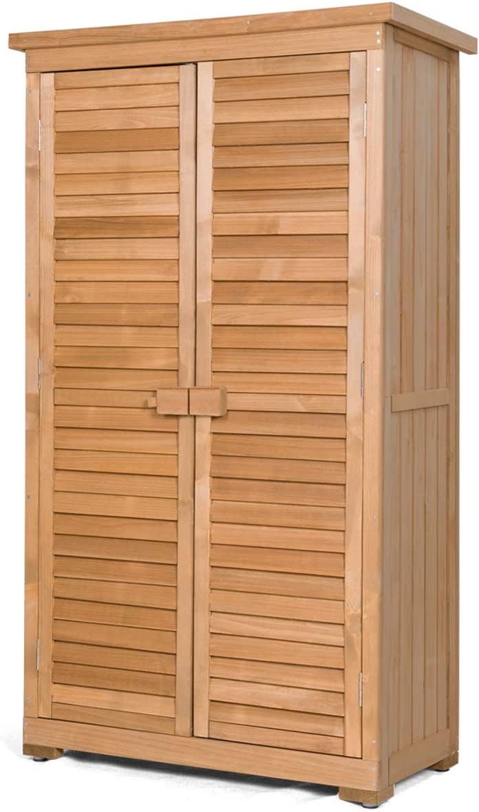 Safstar Outdoor Storage Shed, Wooden Cabinet for Garden Yard Pool Patio Tools