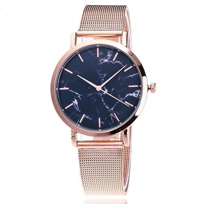 Amazon.com: Womens Wristwatch, Hmlai Fashion Casual Quartz Stainless Steel Band Mesh Bracelet Watch Marble Strap Watch Analog Wrist Watch (Black): Watches