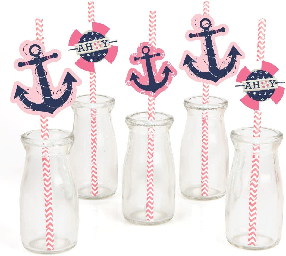 Ahoy - Nautical Girl Paper Straw Decor - Baby Shower or Birthday Party Striped Decorative Straws - Set of 24