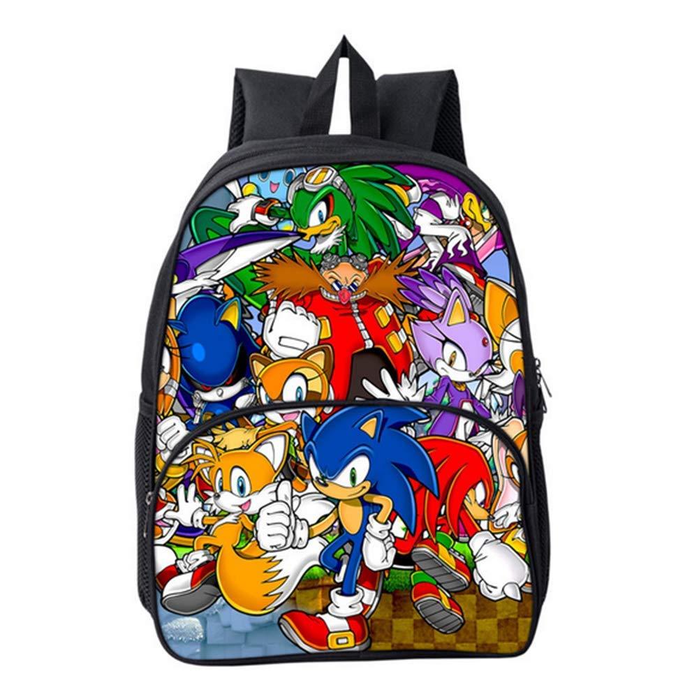 HGYYIO 3D Anime Sonic Impreso Mochila de la Escuela Primaria//Mochila para Ni/ños ni/ñas 6-12 a/ños de Edad Impermeable Nylon Cartera Ni/ños Viajar Mochila,B