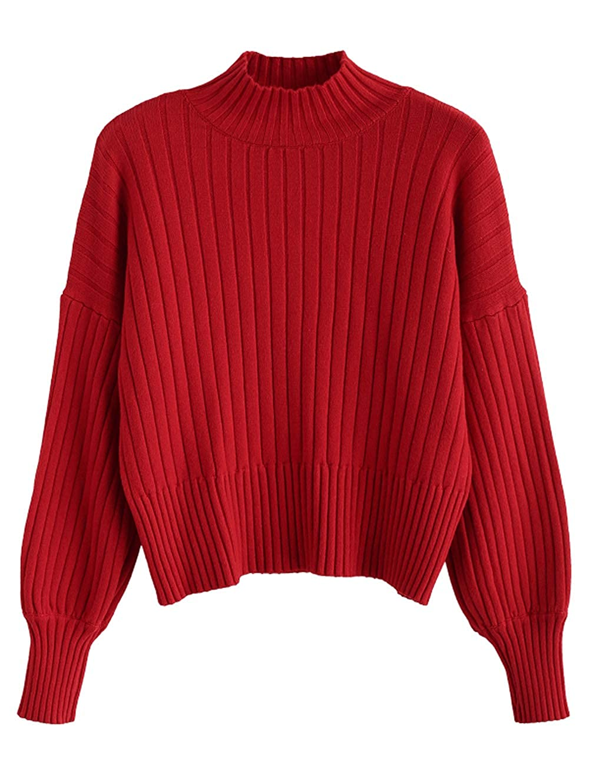 ZAFUL Womens Dropped Shoulder Mock Neck Sweater Long Sleeve Basic Crop Sweater