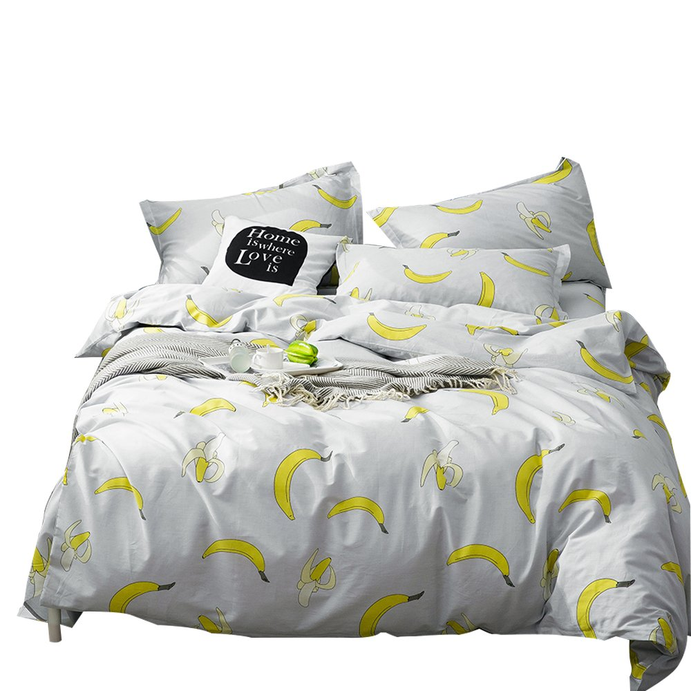OTOB Kids Cartoon Banana Duvet Cover Set 1 Duvet Cover 2 Pillowcases Grils Boys Children Soft 100% Cotton Reversible Teen Bedding Sets Yellow Gray Best Bed Set Gifts Bedding Collection(Twin,