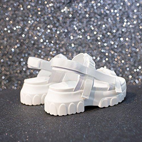 QQWWEERRTT de Femeninas de negro Verano Hembra Romanas Moda Sandalias Sandalias Nuevas Plataforma Época Zapatos de de 5r7Zq58