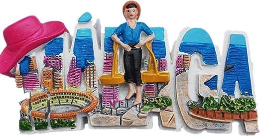 Málaga España imán para nevera 3D con letras estilo recuerdo, decoración del hogar y la cocina, imán para nevera: Amazon.es: Hogar
