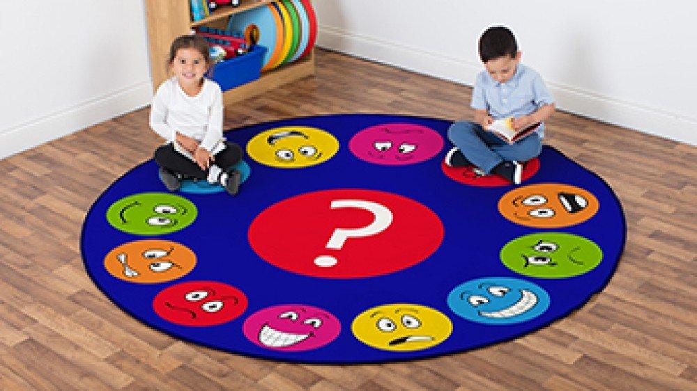 MAT1196 Kit For Kids Childrens Emotions/™ Faces Interactive Circular Carpet