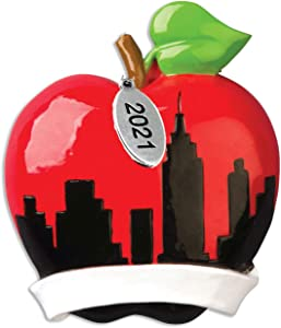 New York Ornament - New York Christmas Ornament 2021 - Big Apple New York City Ornament - Can Be Personalized at Home Comes in a Gift Bag