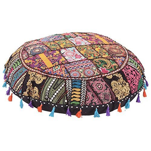 Pouffe Cover Ottoman Pouf Round Cushion Seating Floor Pillow Indian Patchwork Floor Pillow Vintage Kantha Home Decor 32 Inch