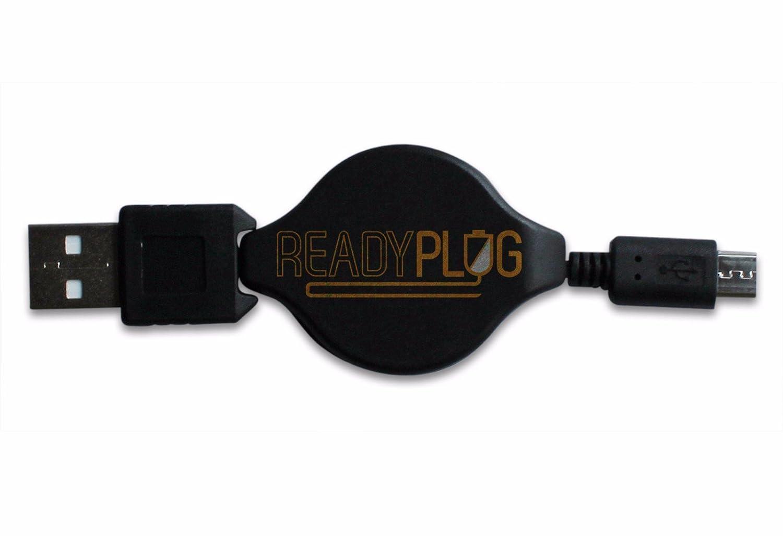 ReadyPlug ® USBケーブルfor SoundBot sb320 3 - in - 1 Bluetoothスピーカー、LEDランプ、&スマートフォンスタンドデータ/充電器/コンピュータ/同期/アダプター/Retractable/車充電器アクセサリー 4 feet ブラック RPL15NOV25102504XLCMB B018K990EY  ケーブル収納できるUS充電器 (4フィート)