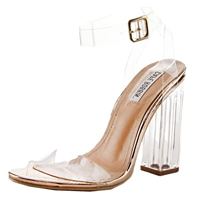 CAPE ROBBIN Maria-2 Women's Lucite Clear Strappy Block Chunky High Heel  Open Peep Toe