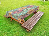 Ambesonne Traditional Outdoor Tablecloth, Ethnic Ornamental Arabian Middle Eastern Ottoman Persian Bohemian Antique Motif, Decorative Washable Picnic Table Cloth, 58 X 84 Inches, Multicolor