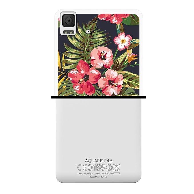 WoowCase Funda para Bq Aquaris E4.5, [Bq Aquaris E4.5 ] Silicona Gel Flexible Flores Tropicales 1, Carcasa Case TPU Silicona - Transparente