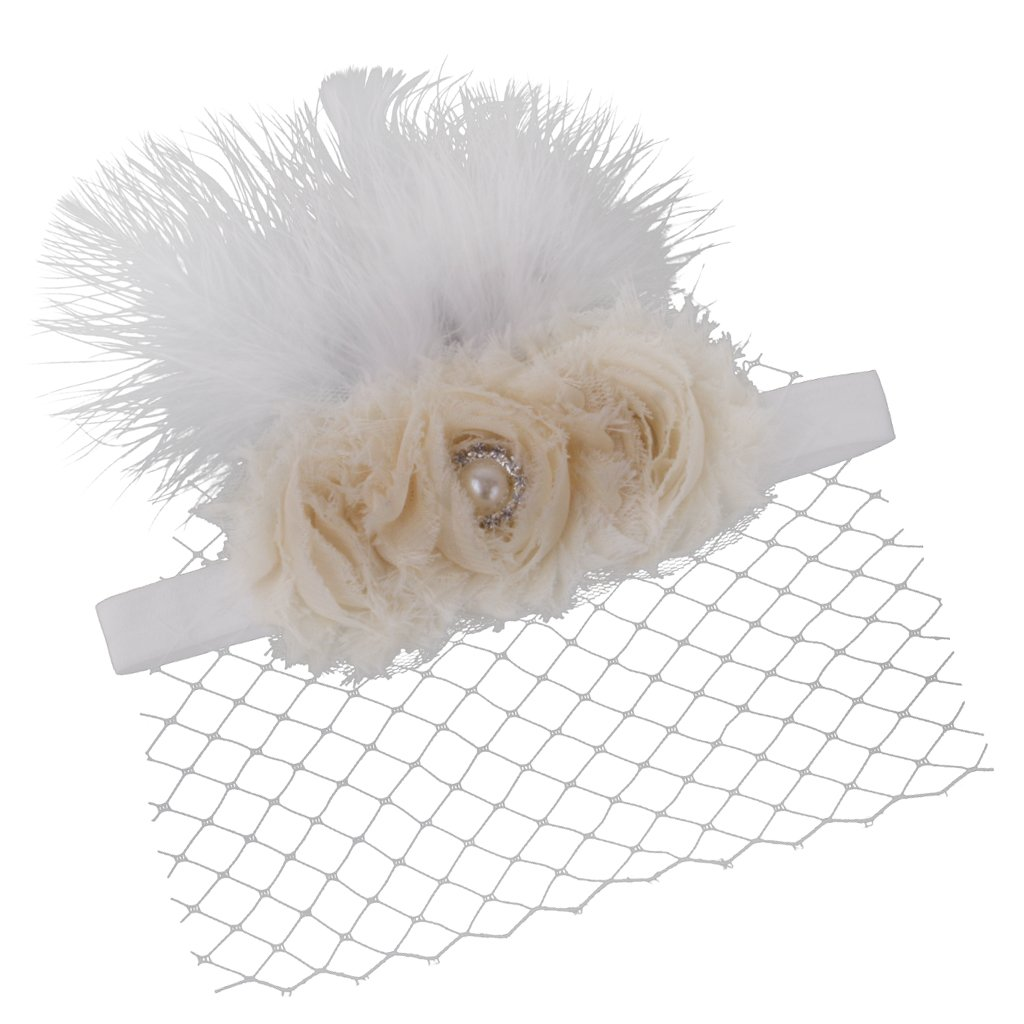2a7b45d1c MagiDeal Sweet White Feather Floral Headband Veil Fascinator for ...