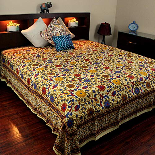 India Arts Bedspread Cotton Sunflower Print, Yellow, Approx 106