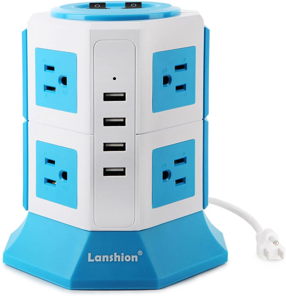 Lanshion 8 Outlet Surge Protector Power Strip with 4 USB Charging Ports 1875W Desktop USB Charging Station with 6.5-Feet Long Power Cord, 1000 Joules, UL Listed(White + Blue)