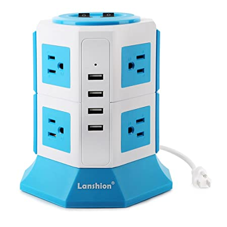 Lanshion 8 Outlet Surge Protector Power Strip with 4 USB Charging Ports 1875W Desktop USB Charging Station with 6.5-Feet Long Power Cord, 1000 Joules, UL Listed White Blue