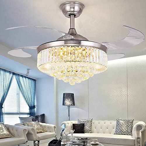 Orillon Modern Crystal Chandelier Ceiling Fan Light