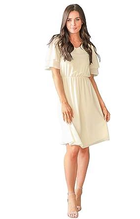 59ac788d40d Mikarose Women s Claire Modest V-Neck Tiered Flutter-Sleeve Chiffon ...