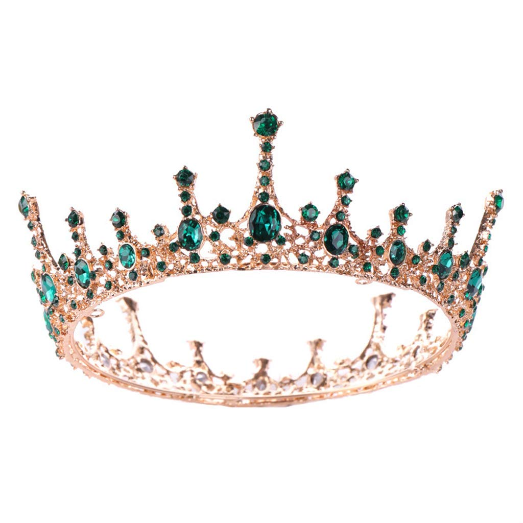 Meiqqm Bride Crown Wedding Tiara Green Rhinestone Round Bridal Headdress Headband Elegant Charms Lady Women Jewelry Hair Accessories Fashion Decoration Full Circle Princess Queen