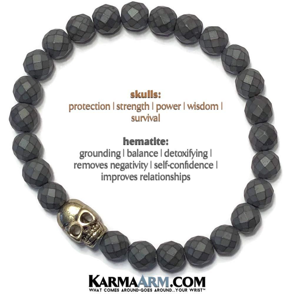Gold Skull Beaded Reiki Yoga Chakra Bracelet Meditation Jewelry Boho Stretch Bracelets KarmaArm Skull Bracelet Fearless: Faceted Matte Hematite