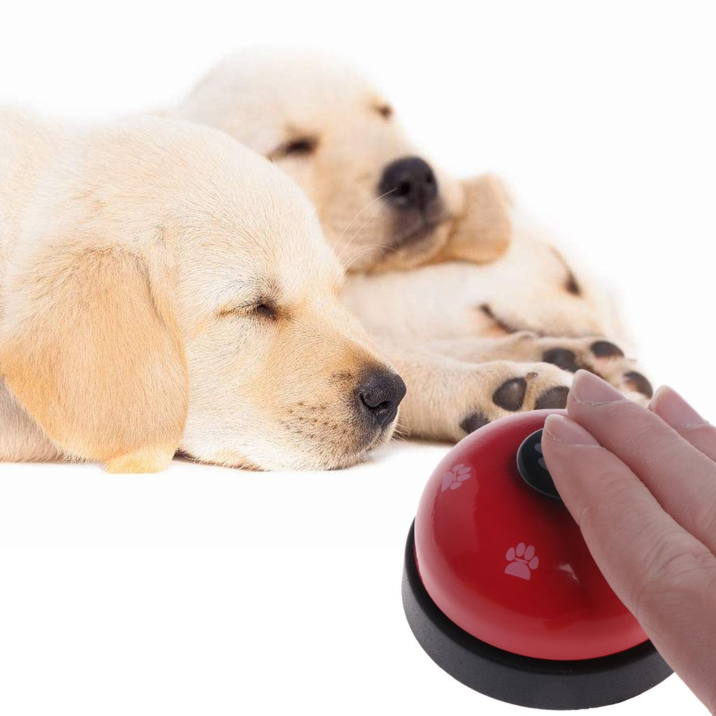 Red GMSP Pet Training Bell, Dogs Footprint Puppy Cats Interactive Dinner Feeding Door Ring,Multi-colord Cute Pet Training Bell (Red)