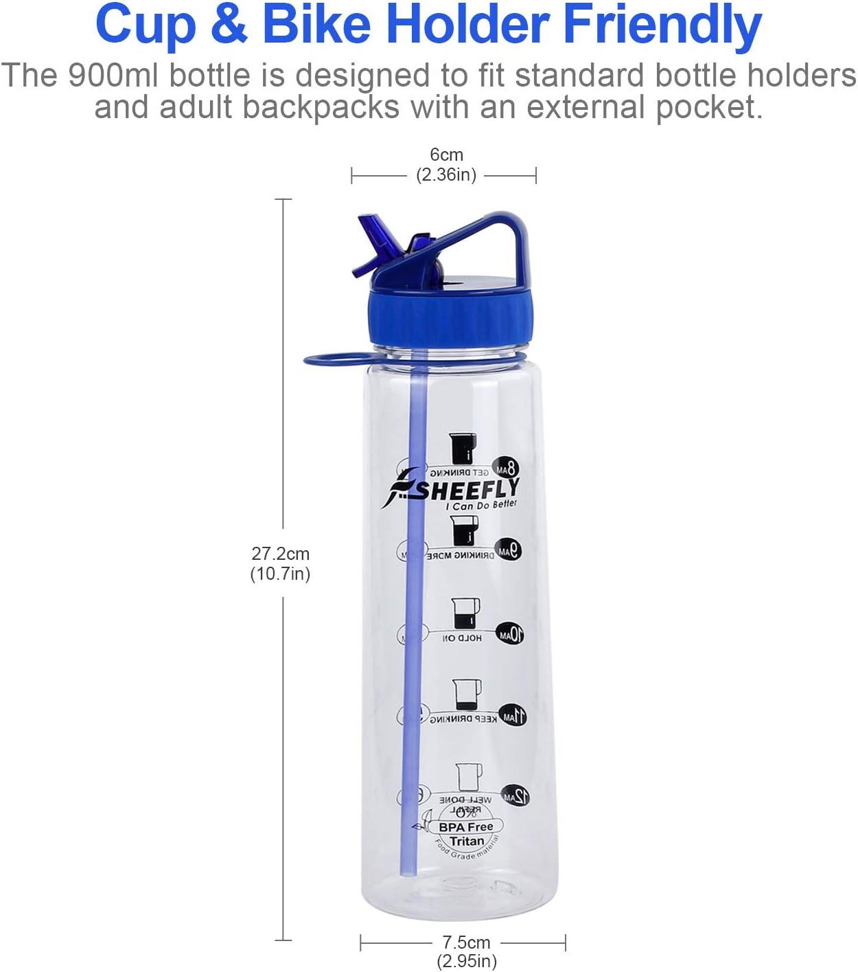 SHEEFLY Botella de Agua para Deportes de Motivaci/ón con Paja para Adultos y Ni/ños sin Fugas Sin BPA Boquilla Abatible 2 Pajitas 900ml Pl/ástico Tritan con Marcador de Tiempo No T/óxica