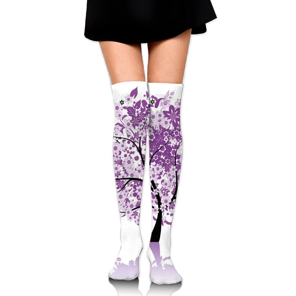 TRUSTINEEgyl Womans Spring Tree Of Life Sacred Woods With Blooming Flower And Butterfly Flying Romance Breathable Winter Socks
