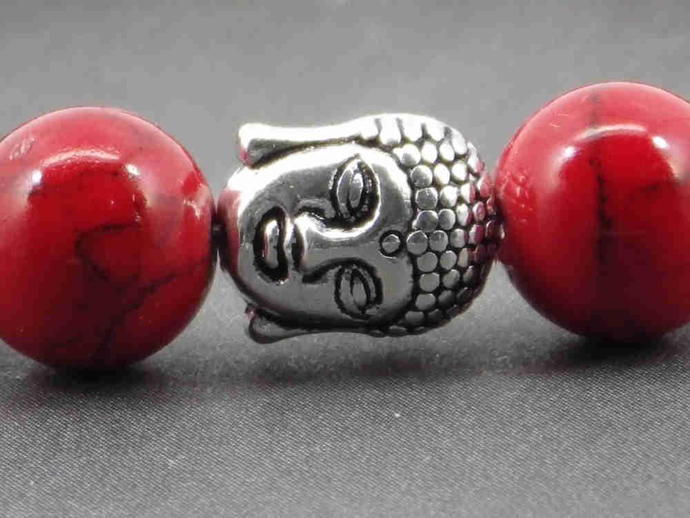 78aa92704269 Pulsera para hombre étnica Zen Thurcolas con cuentas turquesas rojas y  cuentas de Buda tibetano plateado  Amazon.es  Handmade
