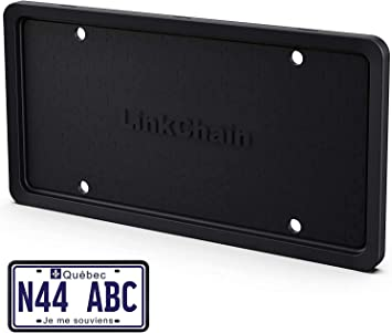 LinkChain Silicone License Plate Frame Black,1Pcs License Plate Cover with Drainage Holes,Rust-Proof, Weather-Proof and Rattle-Proof License Plate Holder for Car