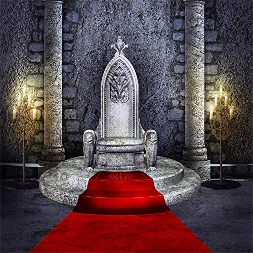 (Laeacco 6.5x6.5ft Shabby Red Carpet Throne Backdrop Vinyl Grunge Mysterious Gothic Ancient Hall Stone Pillars Red Carpet to The Stone Throne Faint Candlestick Light Background Adult Artistic)